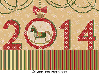 New year 2014 with horse and ball - Green horse a symbol of...