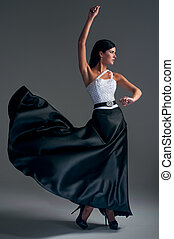niña, Bailes, negro, seda, falda