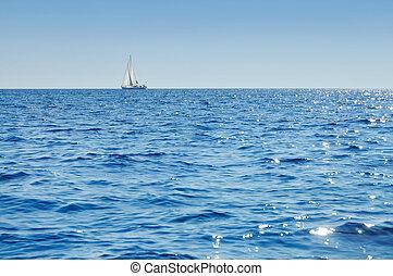 Sailboat at horizon