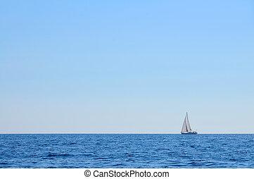 Sailboat at open sea