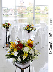 Wedding chapel - White wedding chapel decorated with...