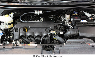 new car engine close up