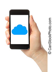 Woman hand holds smart phone with cloud computing concept