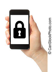 Woman hand holds smart phone with lock on white background