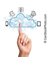 diseño, nube, informática