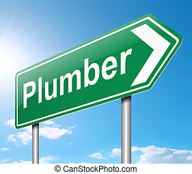 Plumber Concept. - Illustration depicting a sign with a...