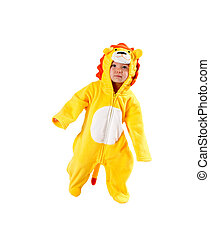 Child girl,dressed in lion carnival suit, isolated on white...