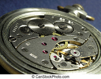 clockwork4 - clockwork of round mechanical watch on the blue...