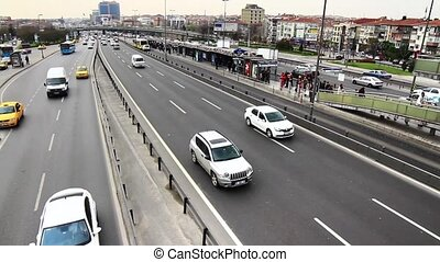 Autobahn - Bus stop at Bakirkoy in Istanbul, Turkey Metrobus...