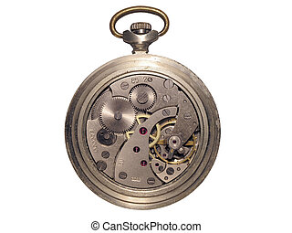 clockwork3 - metallic round watch with opened mechanism...