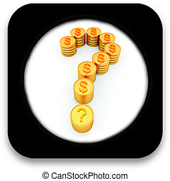 Glossy icon with Question mark in the form of gold coins with dollar sign