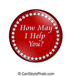 How May I Help You button - A red button with words How May...