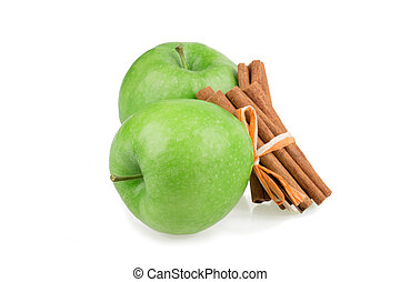 apple, cinnamon isolated on white background