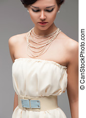 Girl in white cocktail dress - Girl in white evening dress