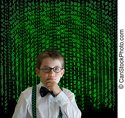 Boy, businessman student teacher with binary on background -...