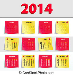 2014 calendar - Vector Calendar 2014, All Elements Are In...