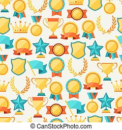 Seamless pattern with trophy and awards