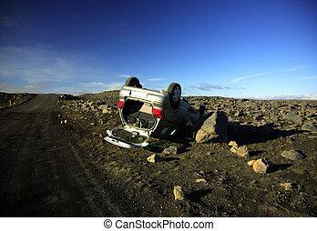 Car crash aftermath in Iceland