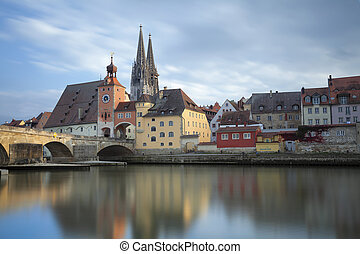 Regensburg - Long exposure image of unesco heritage and...