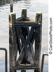 Mooring posts in the port