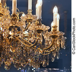 Chrystal chandelier close-up Glamour background with copy...