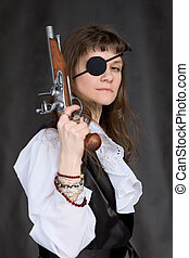 Girl - pirate with pistol in hand and eye patch on face