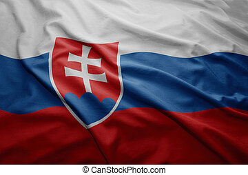 Flag of Slovakia - Waving colorful Slovak flag