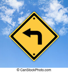 Turn left traffic sign on beautiful sky background.
