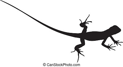 Vector graphic silhouette of a baby iguana.