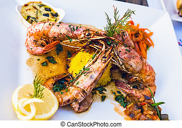Flamed Prawns Provencal to pastis or cognac