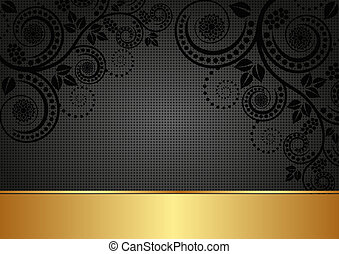 black background - black and gold background with floral...