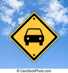 Car or Automobile sign on beautiful sky background