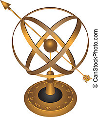 Astrolabe - Metal spherical astrolabe used for basic...