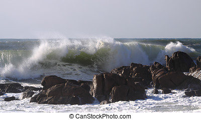 Stormy splash - Stormy waves crushing on a rocky beach
