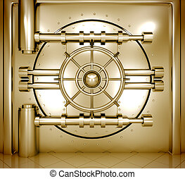 illustration of golden bank vault door, front view - 3d...