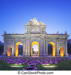 View of Puerta de Alcala at sunset, Madrid, Spain