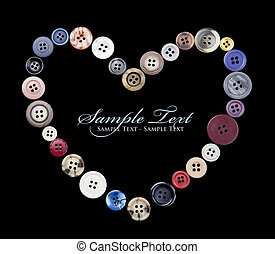 Button Love - A heart shape made of old 4-hole buttons,...