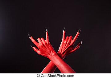 pesado, diabo, mostrando,  metal, vermelho, mãos, gesto