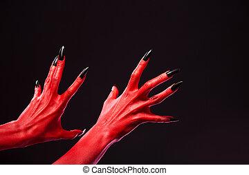 real, body-art, diabo, pregos, Spooky, pretas, mãos,...