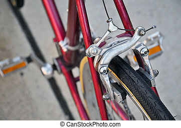 Bicycle center-pull brake - Center-pull brake on the rear...