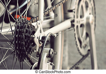 Rear bike cassette on the wheel with chain - Close up of...