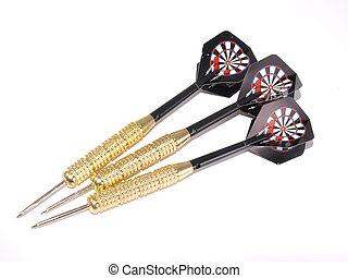 Set of three darts on a white background
