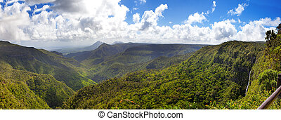 Mauritius. Gorge of the Black river. Top view. Panorama