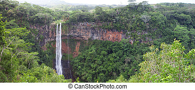 Chamarel waterfalls in Mauritius. Panorama