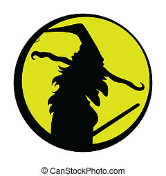 Spooky Halloween Witch Silhouette