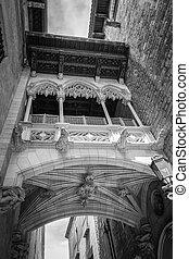 Gothic bridge in Carrer del Bisbe street, in Barcelona, Spain