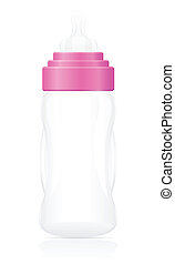 baby bottle pink vector illustration