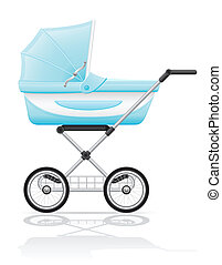 babys perambulator blue vector illustration isolated on...