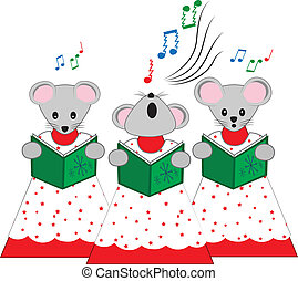 Christmas Church Mice - A vector illustration of three mice...