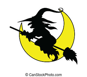 Halloween Witch Flying in Moonlight
